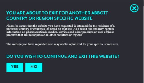 Abbott Global website popup