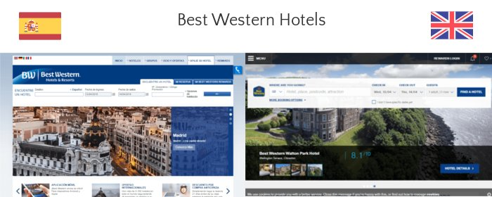 Best Western UK and Spain websites