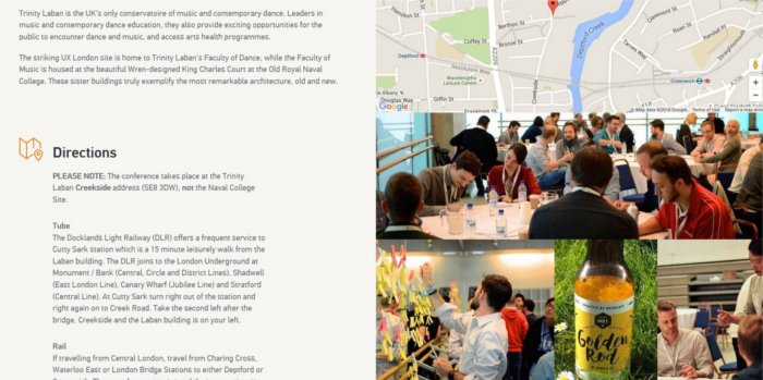 Event page UX London