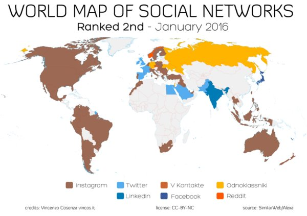 Global social media map ranked second 2016 by Vincenzo Cosenza