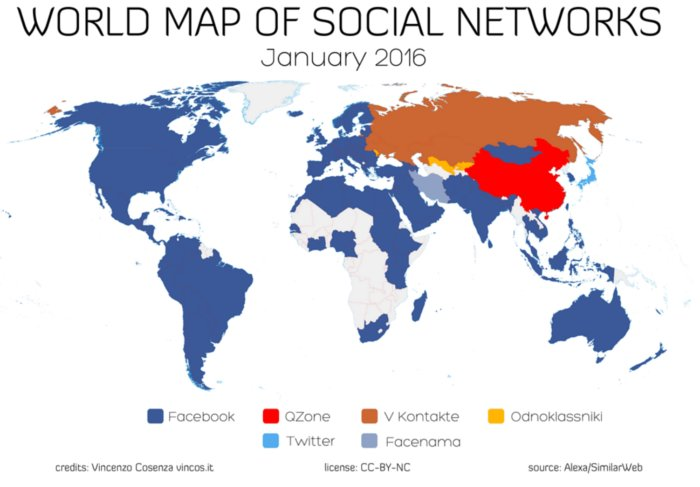 Global social media map 2016 by Vincenzo Cosenza