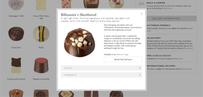 Luxe chocolate box selection product page