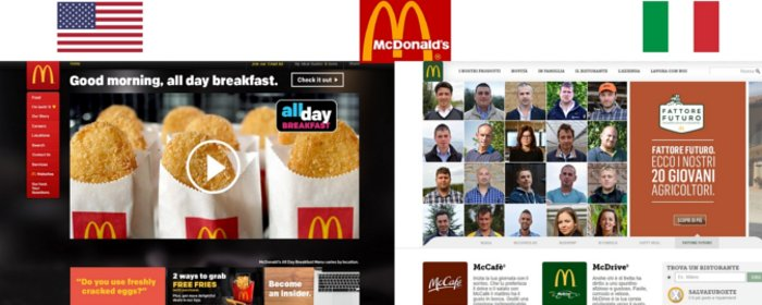 McDonald's websites in the US and Italy