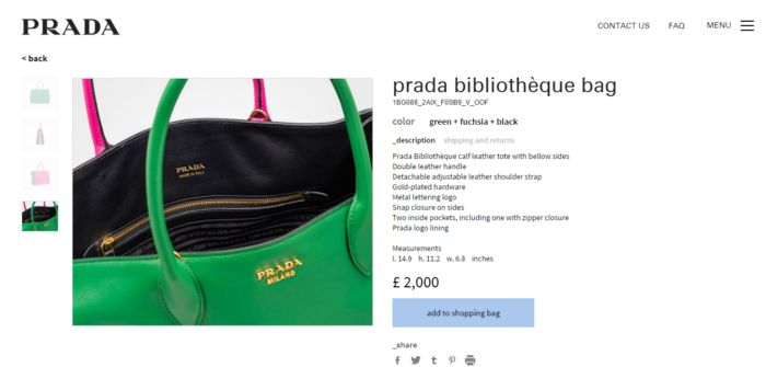 Prada bibliothèque bag product page