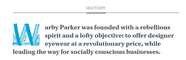 Warby Parker history webpage