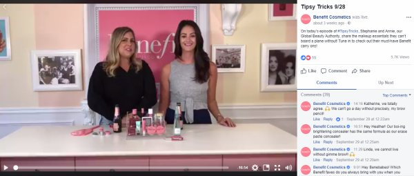 Benefit Tipsy Tricks Facebook Live